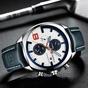 Image 4 - Męskie zegarki Top marka CURREN luksusowy skórzany pasek Sport kwarcowy z chronografem zegarek wojskowy mężczyźni zegar wodoodporny Relogio Masculino