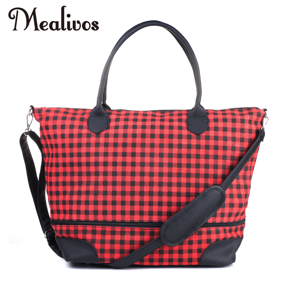 Mealivos Fashion 2017 Black Stripe and red Canvas Weekender Tote Bag Overnight Travel Carry On Duffel Bags OFF THE GRID in Travel Bags from Luggage Bags