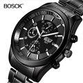 Топ люксовый бренд Bosck мужские водонепроницаемые часы с ремешком из нержавеющей стали военные черные кварцевые часы мужские деловые наручн...