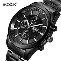 Top Luxury Brand Bosck Men Waterproof Stainless Steel Band Watch Military Black Quartz Watches Man Business