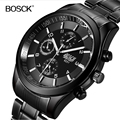 Top Luxury Brand Bosck Men Waterproof Stainless Steel Band Watch Military Black Quartz Watches Man Business Wristwatch 2017