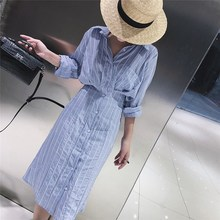 Autumn Korean Slim Waist Striped Shirt Dress Casual Women Spring Long Sleeve Ladies Elegant Midi Dress Vestidos autumn korean slim waist striped shirt dress women spring long sleeve ladies elegant midi dress vestidos