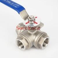 DN15 1/2 BSP Female Thread 304 Stainless Steel 3 Way T Port Ball Valve oil water air 229 PSI Plumbing