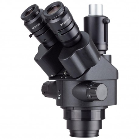 AmScope 7X-45X Black Simul-Focal Trinocular Zoom Stereo Microscope Head