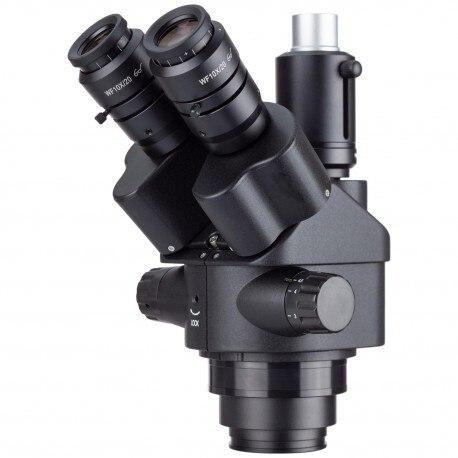 Tête de Microscope stéréo à Zoom trinoculaire noir simul-focal AmScope 7X-45X