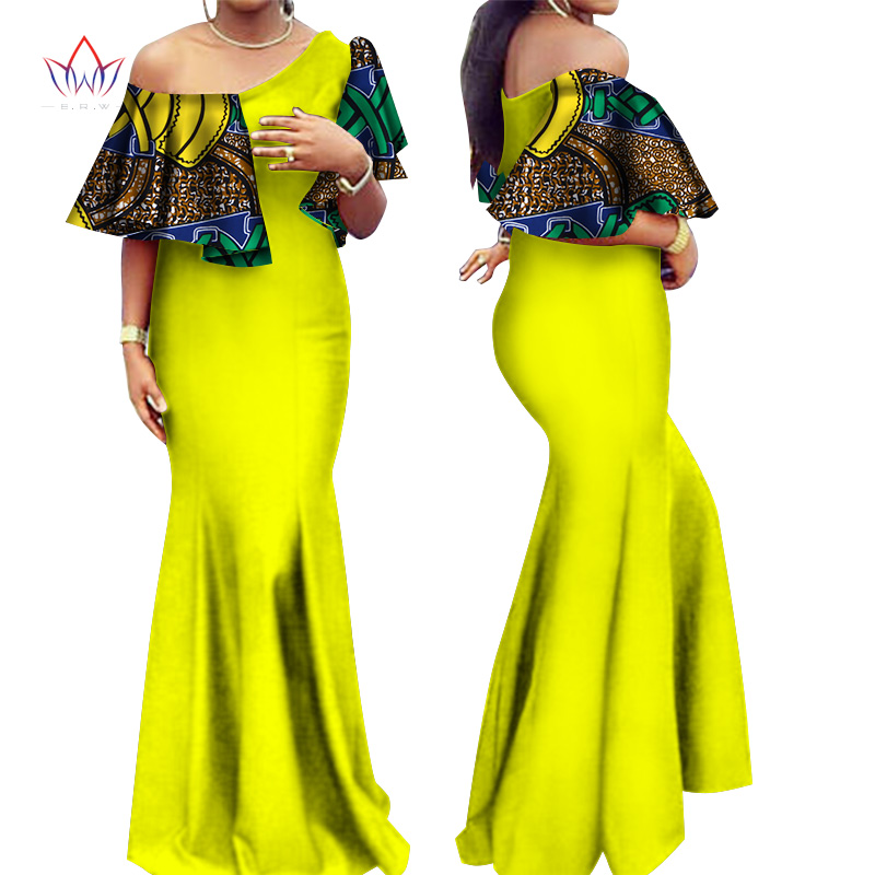 2018 Autumn Women Traditional African Dresses Brand Custom Clothing Africa Wax Dashiki Long Cotton Dress Size 6xl Brw Wy2541