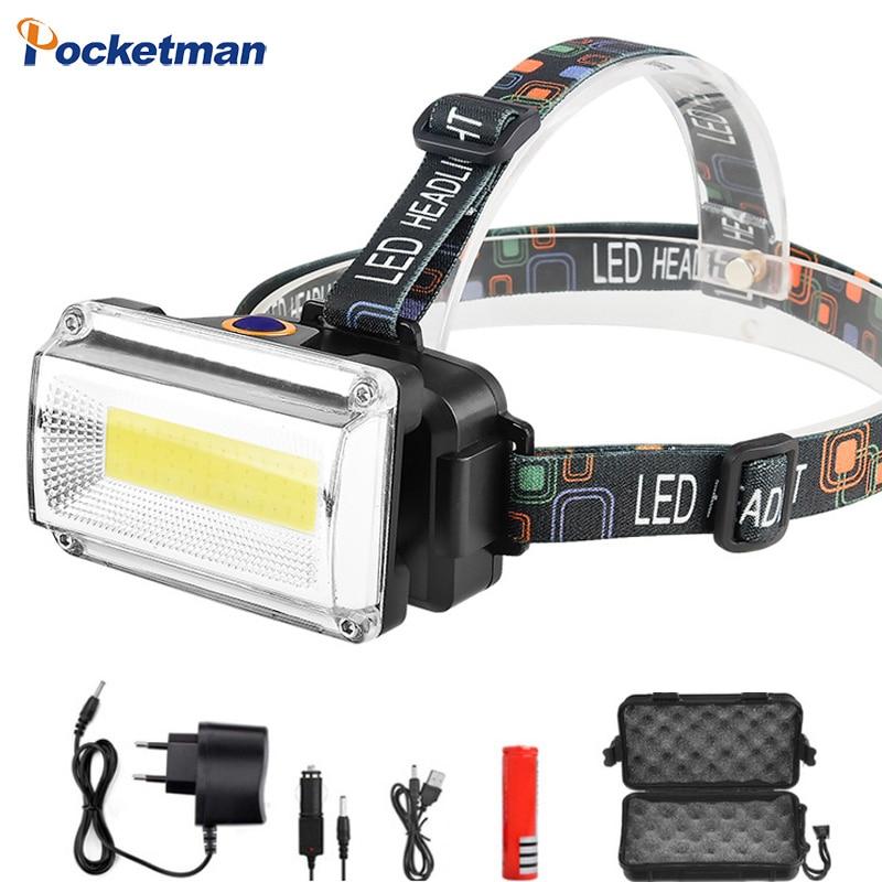 High Power COB LED Headlight Headlamp DC Rechargeable Head Lamp Torch 3Mode 18650 Battery Waterproof Hunting Fishing Lighting
