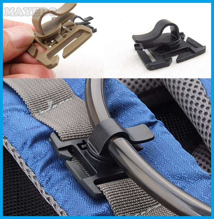 5pcs Outdoor camping tool water Tube clip Hose Clamp fixed rotation snaps buckle for 25mm Molle Webbing Edc travel kits