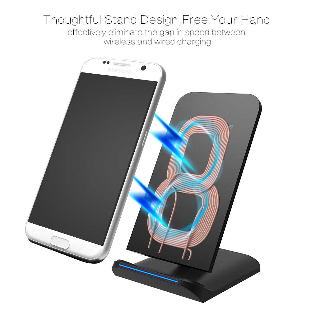 Esvne 5W Cepat Qi Wireless Charger UNTUK Samsung S8 S9 S10 Galaxy untuk iPhone 6 6 S 7 8 plus X XR X MAX Ponsel Charger Stand