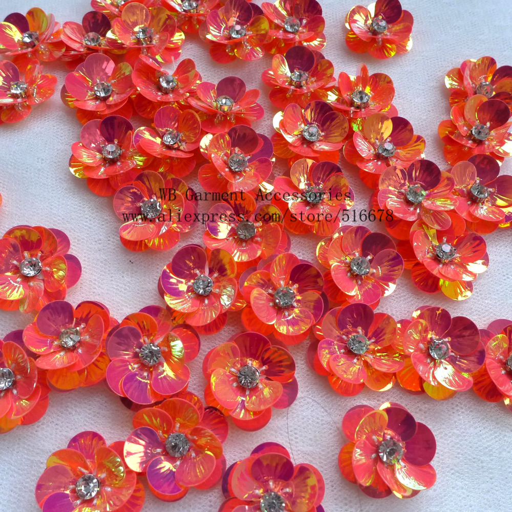 50pcslot 3D Sequin Flowers Handmade Sew On Patches DIY