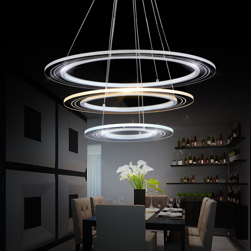 Modern pendant lights for living room dining room Circle Rings acrylic body LED ceiling Lamp fixtures modern pendant lights for living room dining room dimming circle rings oval aluminum body led lighting ceiling lamp fixtures