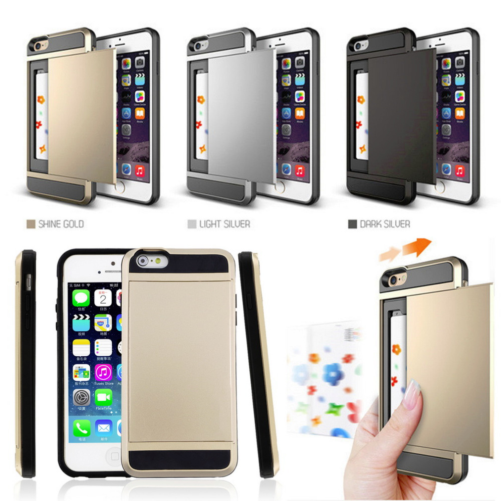 New 1pcs Card Holder Pocket ShockProof Case Cover For iPhone 5/5S Hot Worldwide