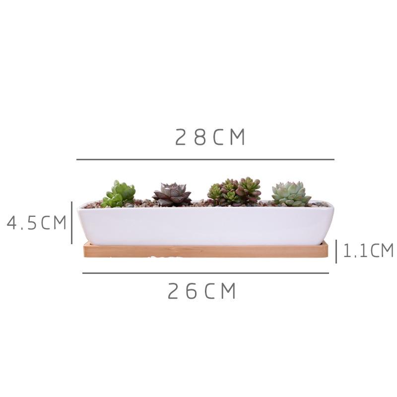 1 Satz Minimalistische Geometrie Weiße Keramik Sukkulente Topf - Gartenzubehör - Foto 2