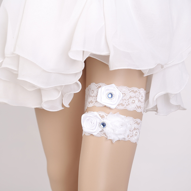 Women's Intimates Garters Fashion Style Bridal Garters White Embroidery Floral Rhinestone Flower Sexy Wedding Garters For Bride Vogue Lace/rubber Band Leg Garters Wg020 Latest Fashion