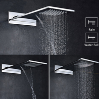 304 Stainless Steel Square Thicker Showerheads Rectangle Shape Rainfall & Waterfall Wall Mounted Bathroom Rain Shower Chrome