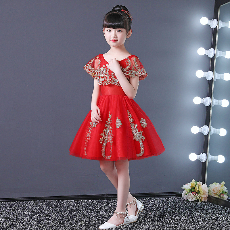 Red Flower Girl Dresses for Wedding Gold Appliques Ball Gown Kids Pageant Dress for Birthday Costume Princess Party Gowns B183
