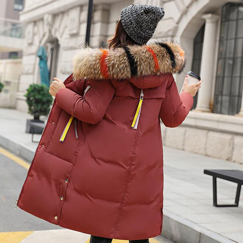New Fashion Warm Winter Jacket Women Big Colored fur collar Thick Female Jacket Women Hooded Coat Down   Parkas   Long Outerwear