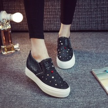 New Spring Fashion Rhinestone Style font b Women b font Denim Canvas Loafers Shoes Platform A