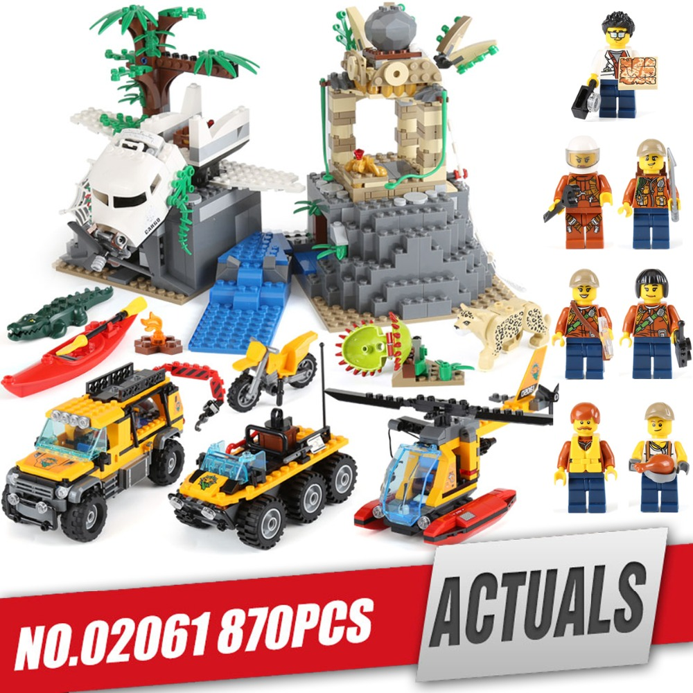 Lepin 02061 Genuine City Series The Jungle Exploration Site Set 60161 Building Blocks Bricks Gift For children legoing 870Pcs lepin 02012 city deepwater exploration vessel 60095 building blocks policeman toys children compatible with lego gift kid sets