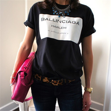 BALLINCIAGA HARLEM Women Sexy t shirt Casual Cotton Funny Tops Summer Style Tees Whtie Black Hipster Plus Size T-F90037