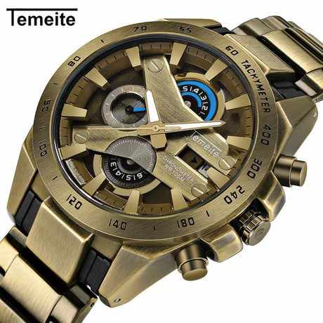 Top TEMEITE Vintage Fashion Watch Men Quartz Clock Copper Stainless Steel Strap Date Display Top Brand Luxury Big Case watch
