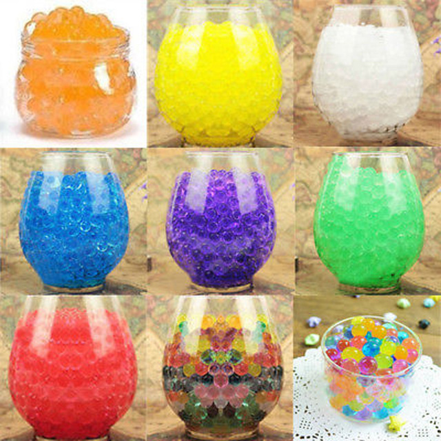 New 10000PCS per Bag Crystal Soil Water Beads Home Decor Pearl Shaped Bio Gel Ball For Flower Weeding Mud Grow Magic Jelly Balls