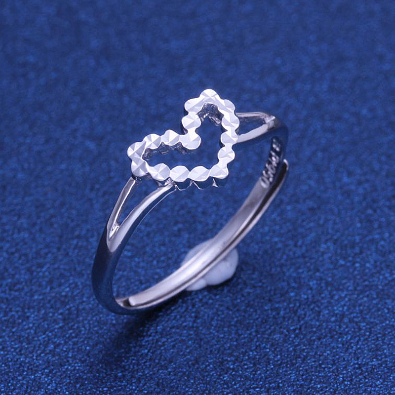 Romantic Platinum PT950 White Real Gold Heart Diamond Crave Eternity Wedding Rings Bands for Women Female Fine Jewelry Gift