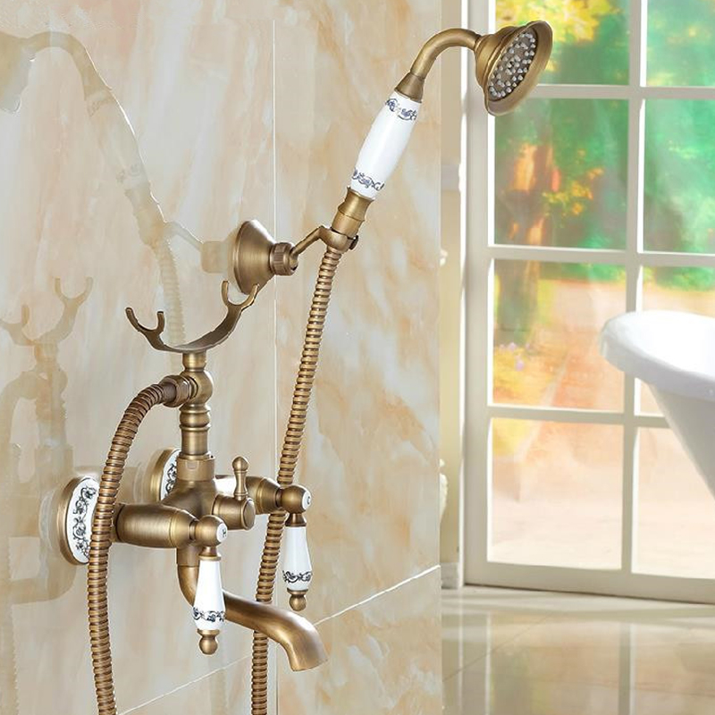 Classic Shower Faucet Set Mixer Tap Antique Bronze Decor Ceramic Brass Wall Mounted Bath Shower Tap Bathtub Faucet Crane H-01 bath decor bear animal fabric shower curtain