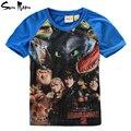 Ropa de los muchachos camisetas de los niños tops de verano de algodón ropa de bebé niño cómo entrenar a tu dragón dinosaurio de los muchachos de camisetas de marca camiseta ocasional
