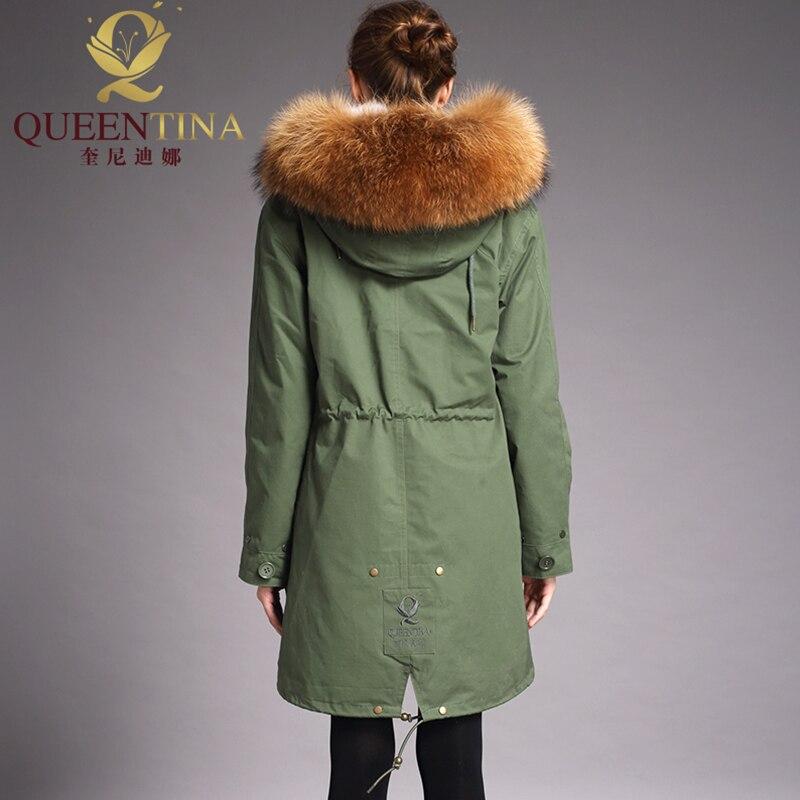 green Véritable À Black Coat Lapin Coat Fourrure Parkas 2018 Femmes Raton Manteau Col Capuche Parka Épaisse Naturel Veste Laveur De Nouveau Long Hiver Outwear UqBYA