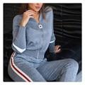 Terno esportivo feminino 2 peça conjunto de ternos femininos tricô com zíper camisola + calças cortadas conjunto sporting wear outono agasalho feminino