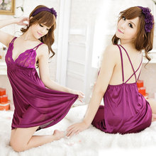 Sexy Lingerie Lace Sling Purple Deep V Silk Slip Satin Nightdress Thong Set Underwear Costumes