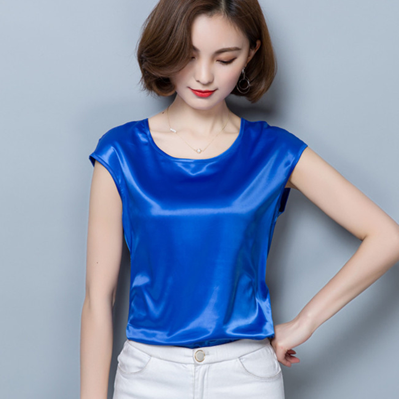 BIBOYAMALL Women Blouses 2019 Casual OL Silk Blouse Loose Short Sleeve Work Wear Blusas Feminina Tops Shirts Plus Size Pink Red