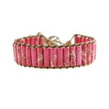 Wrap Bracelets Cool Pink Natural Stone 1 Strand Leather Bracelets Handmade Bead Statement Bracelet Dropshipping Jewelry цена и фото