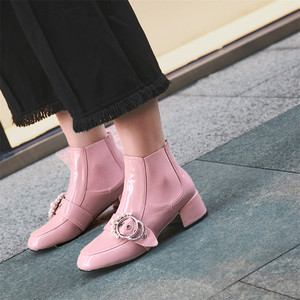 Image 5 - FEDONAS 1Fashion Women Ankle Boots Autumn Winter Warm Patent Leather High Heels Shoes Woman Pearl Buckle Decoration Basic Boots
