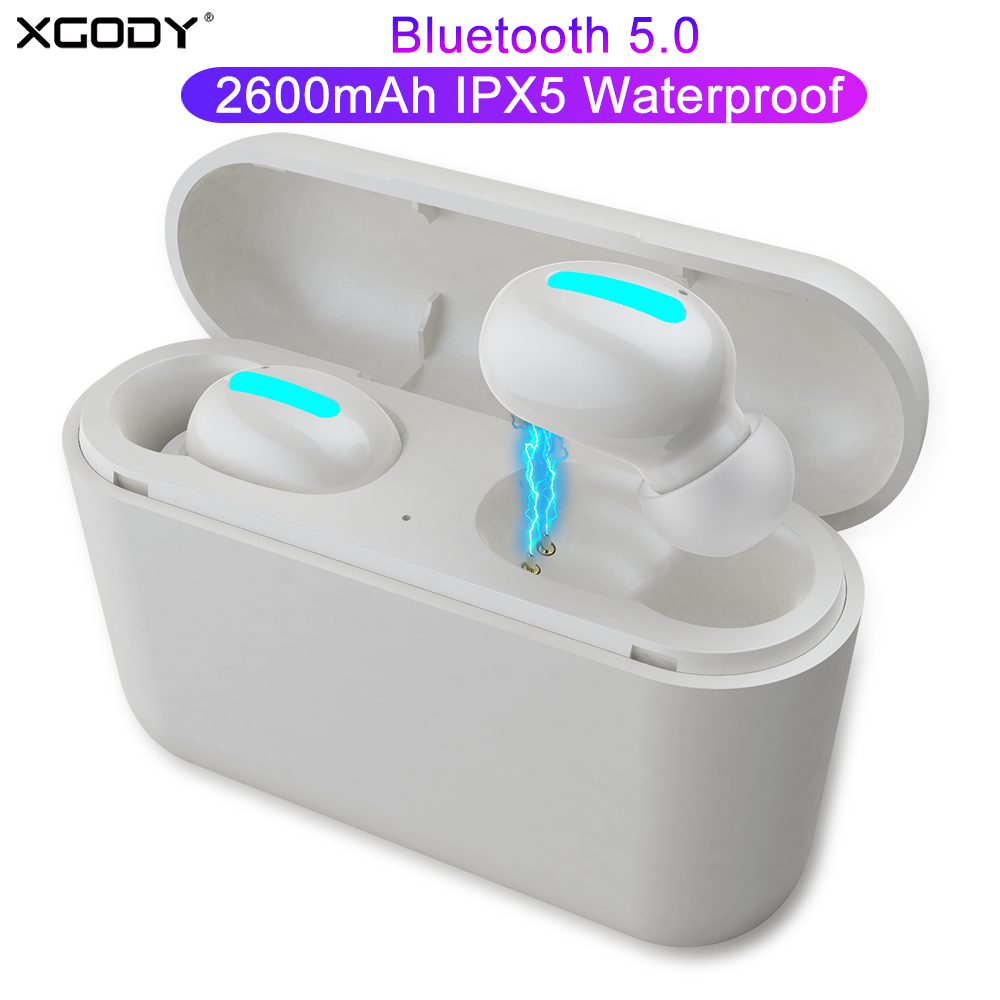 XGODY HBQ Q32 TWS Mini Wireless Headset Sport Stereo Bluetooth 5.0 Headphone Earbuds With Mic 2600mAh Power Bank Charging Box