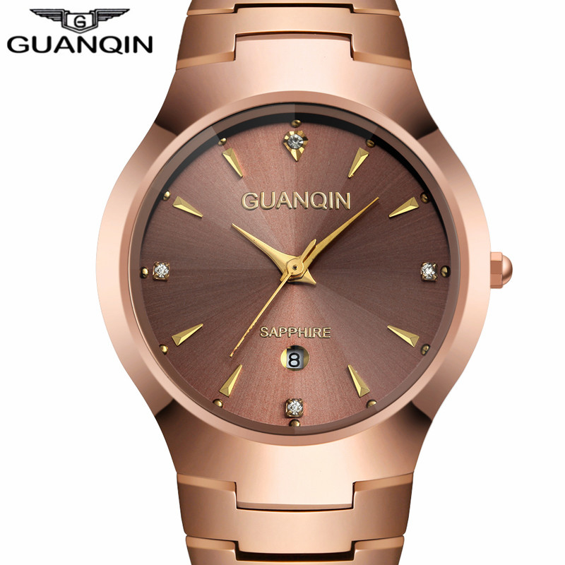 NEW GUANQIN Watches Men Business Luxury Tungsten Steel Quartz Watch Date Analog Display Men's Bracelet Watch relogio masculino loreo watches men 2017 luxury luminous waterproof sports mechanical wristwatches fashion gold full steel hollow business watch