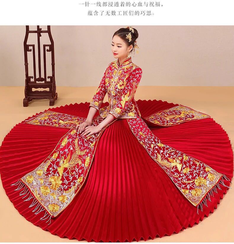 Chinese Ancient Style Wedding Show Bridal Evening Dress Fancy Dragon Gown Cheongsam Kimono Autumn Suzhou Embroidery Red Festival
