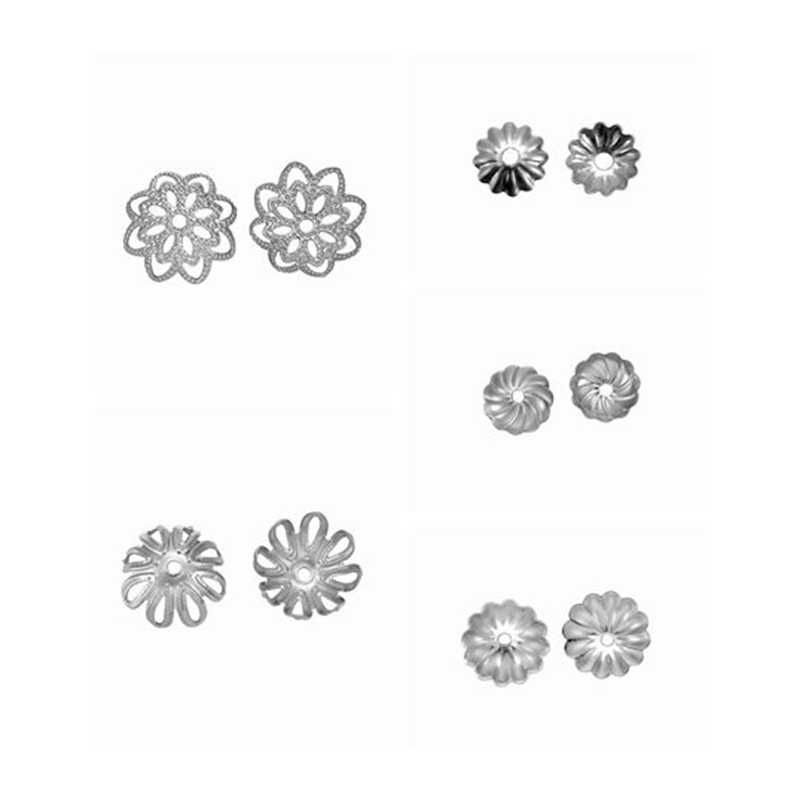 50PC 6-11mm Stainless Steel Hollow Flower Bead Caps Torus For Jewelry Making Accessories DIY Craft Necklaces Bracelet Findings