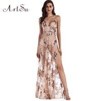 ArtSu Fashion Women Maxi Dress Vestido De Festa Sexy Transparent Backless V Neck Split Slim Sequine Party Long Dresses ASDR30340