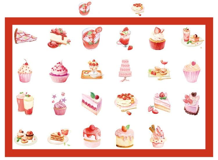 Купить с кэшбэком 46PCS/PACK Kawaii Cute Strawberry Dessert Cake Sticker Marker Planner Diary School Stickers Scrapbooking Bullet Journal sl2003