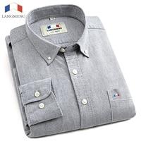 Langmeng 2015 Spring Mens Casual Shirt Long Sleeve Slim Fit Clothing Man Dress Shirts Camisa Social