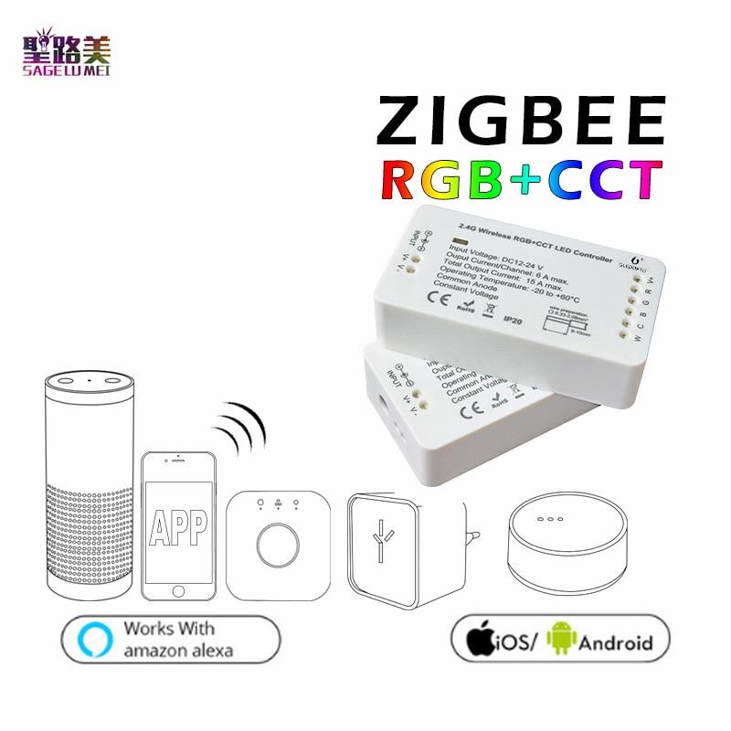 DC12-24V ZIGBEE RGB+CCT Led Controller ZLL Smart Phone APP Amazon Alexa Voice Control RGBW RGB Brightness Adjustment LED Dimmer