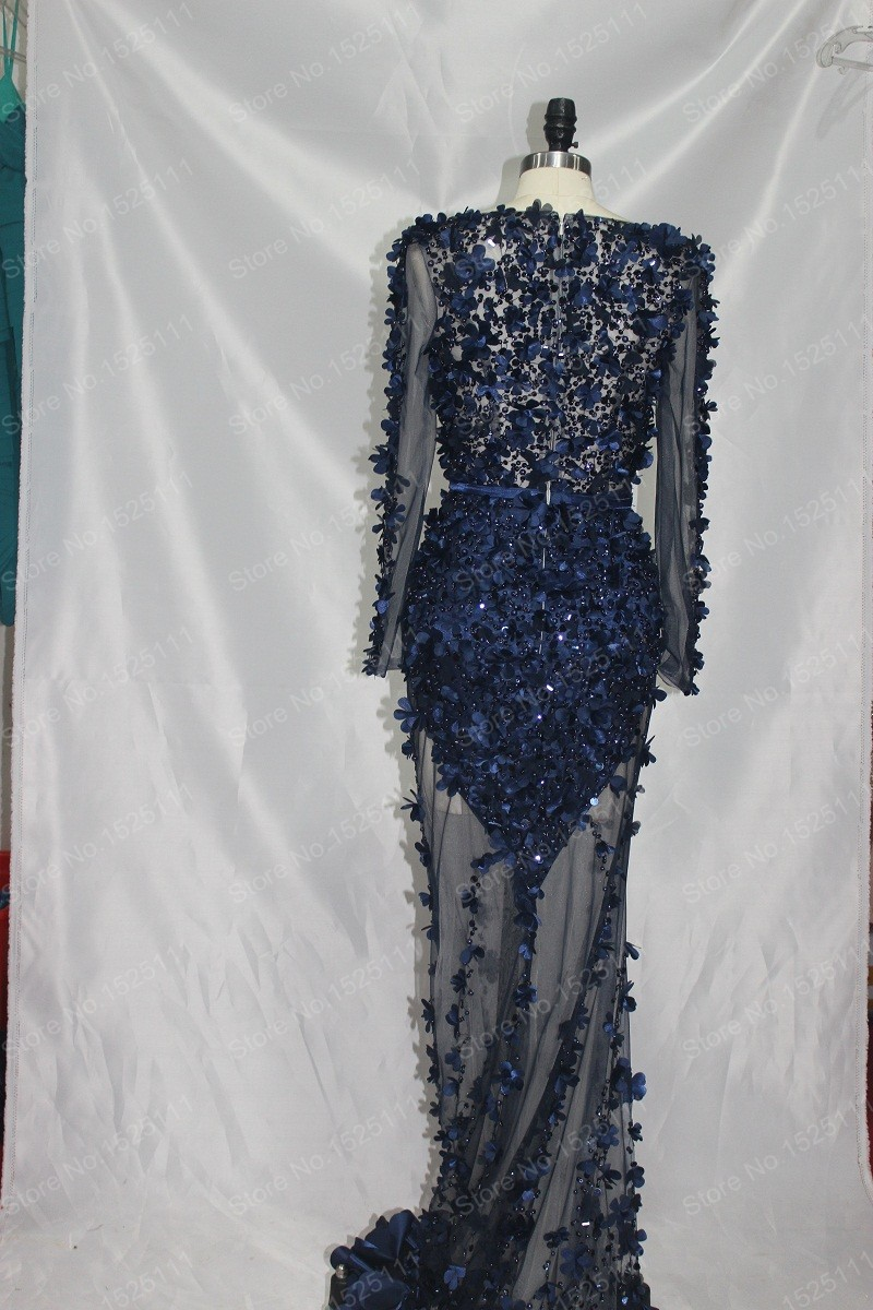 2015 Navy Blue Great Gatsby Dress Long Sleeved Mermaid Prom Gown ...