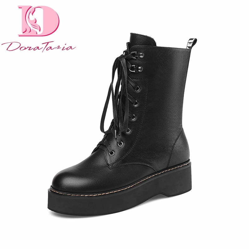 DoraTasia Brand New Big Size 43 Top Quality Genuine Leather Thick Bottom Boots Womens Shoes Youthful Boots Shoes WomanDoraTasia Brand New Big Size 43 Top Quality Genuine Leather Thick Bottom Boots Womens Shoes Youthful Boots Shoes Woman