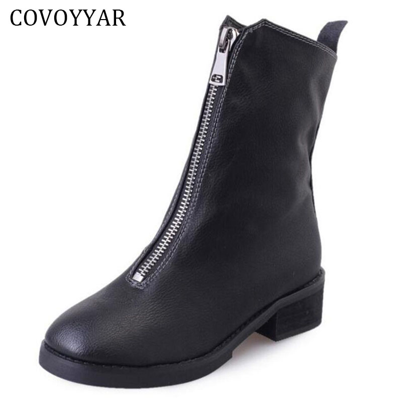 COVOYYAR 2018 Autumn Winter Women Boots Fashion Zip Up PU Leather Martin Ankle Boots Booties Black Shoes Woman WBS230 women martin boots 2017 autumn winter punk style shoes female genuine leather rivet retro black buckle motorcycle ankle booties