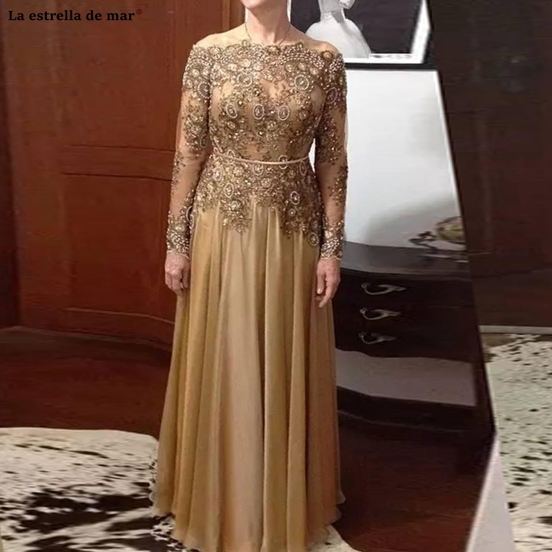 Vestido De Madrinha New Off The Shoulder Lace Beaded Long Sleeve A Line Gold Mother Of The Bride Floor-Length Wedding Party Gown