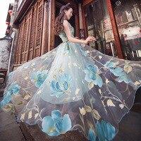 Women 2019 long dress organza sexy sheer embroidery sleeveless Beach Dress Floral dress