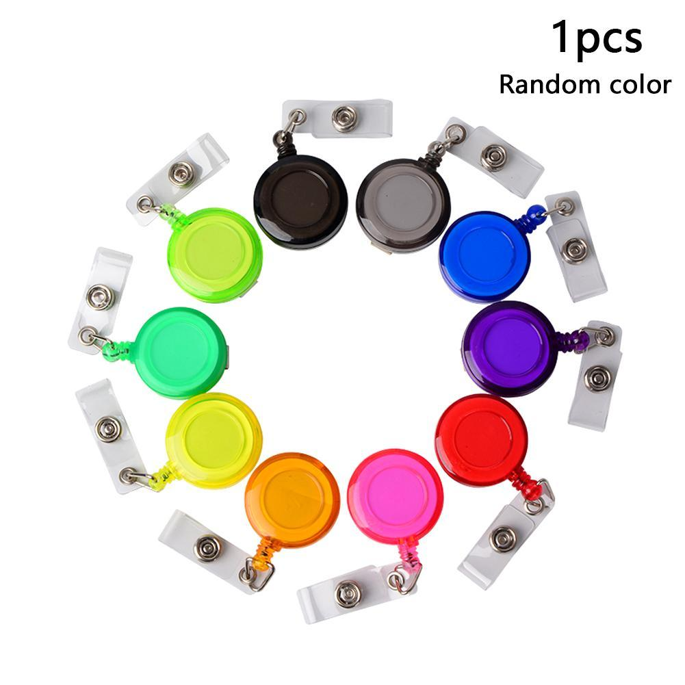 1Pc Retractable Pull Badge ID Lanyard Name Tag Card Badge Holder Reels Key Ring Chain Clips School Student Office Random Color