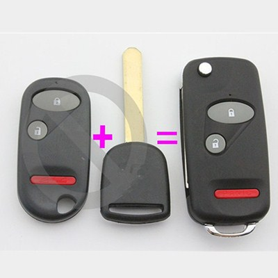 Keyless Flip Remote Uncut KEY FOB CASE Shell Honda Accord Civic CR-V Element Pilot 2 Buttons + Panic/3 blank blade - Brothers Union rs store